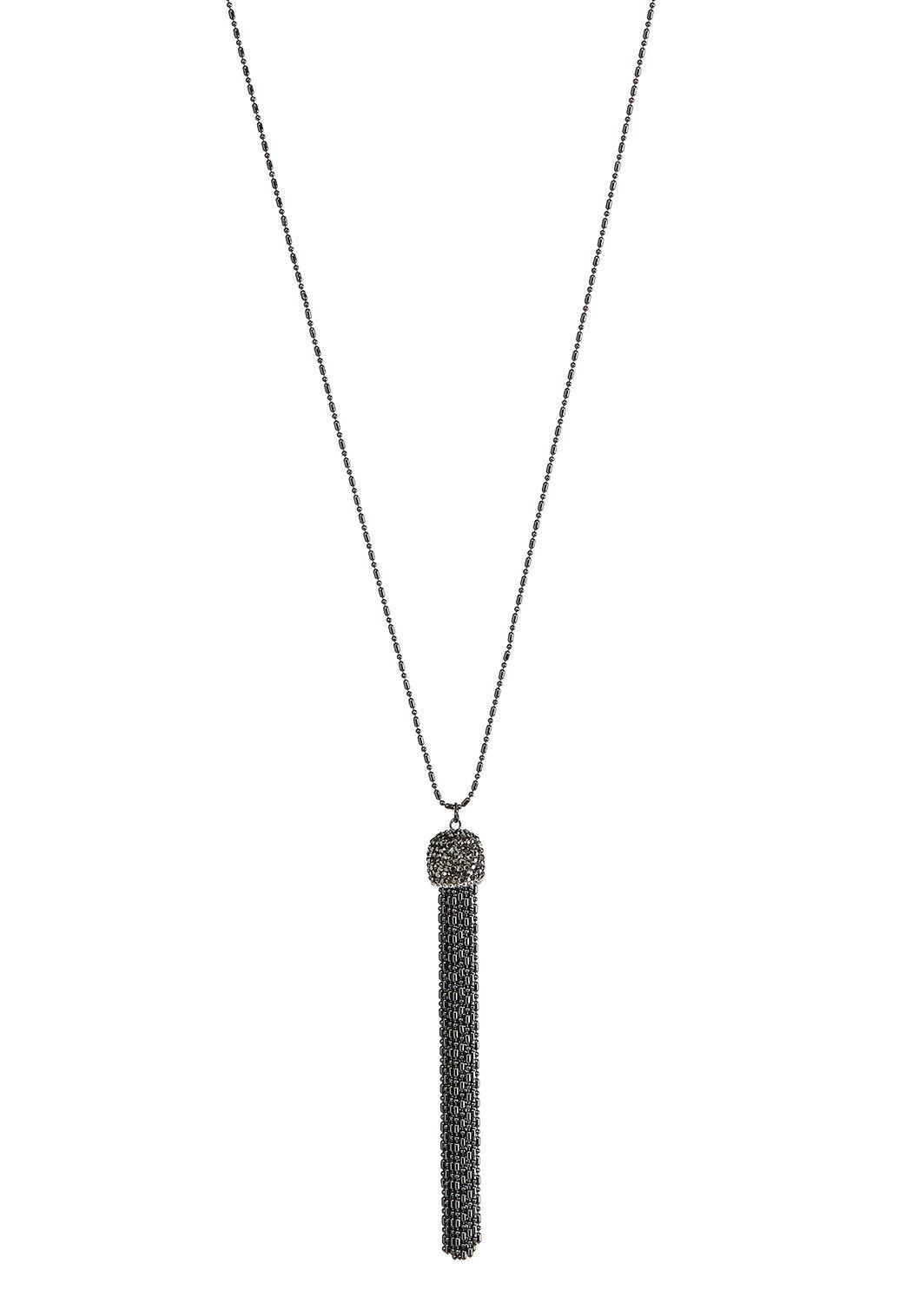 Hematite Long Tassel Necklace