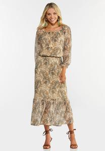 Plus Size Mesh Paisley Midi Dress