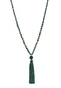 Green Rondelle Tassel Necklace