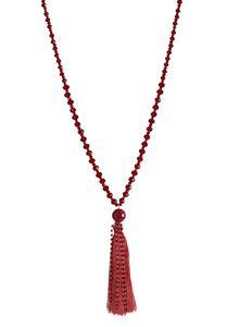 Red Rondelle Tassel Necklace