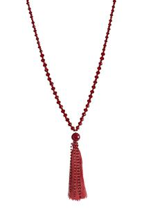 Red Rondelle Tassel Necklace