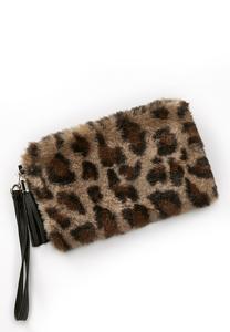 Leopard Faux Fur Wristlet