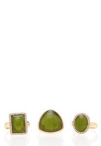 Green Cocktail Ring Set
