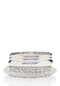 XL Shiny Silver Bangle Bracelet Set