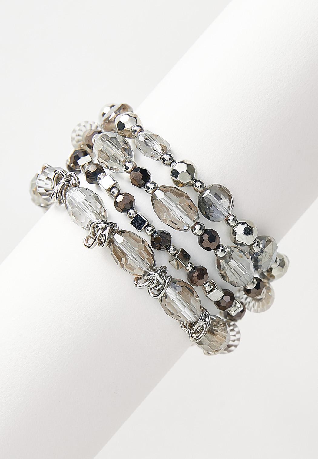 Silver Bead Stretch Bracelet Set