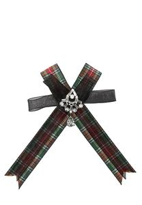 Rhinestone Plaid Ribbon Brooch
