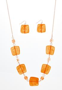 Square Acrylic Necklace Earring Set