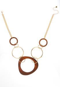 Wood Oval Pendant Necklace