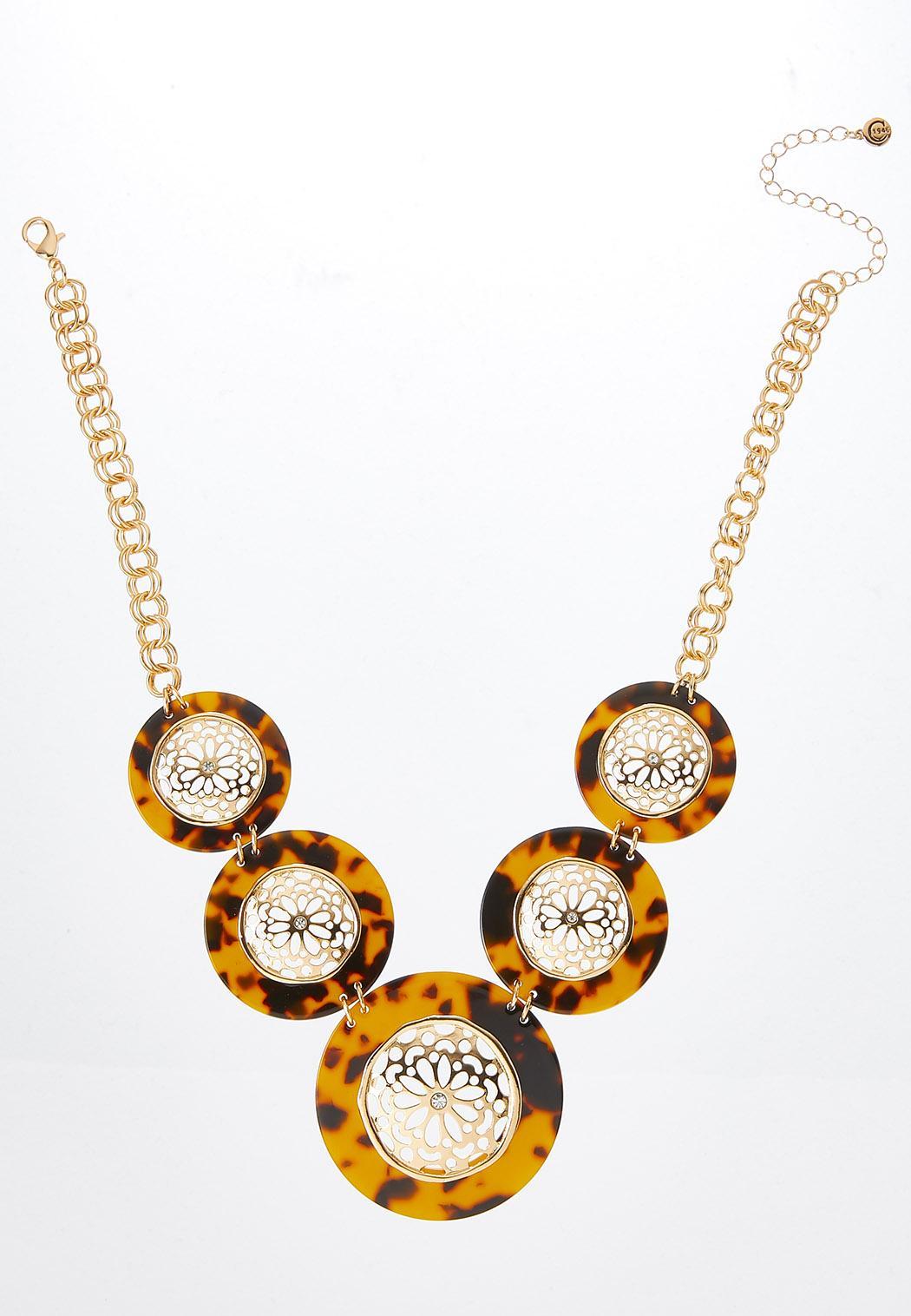 Tortoise Filigree Medallion Necklace