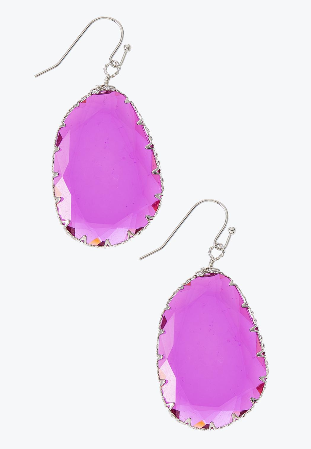 Faceted Color Dangle Earrings