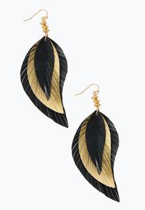 Layered Faux Leather Feather Earrings