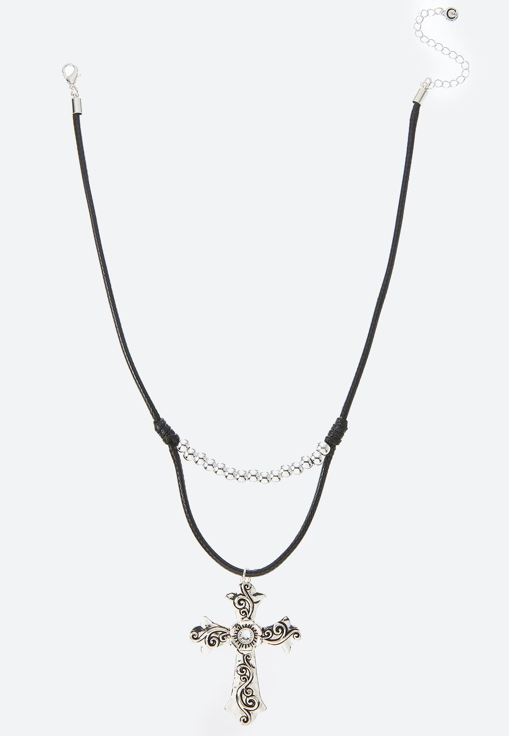 Etched Cross Cord Necklace