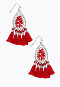 Wire Wrap Tassel Earrings