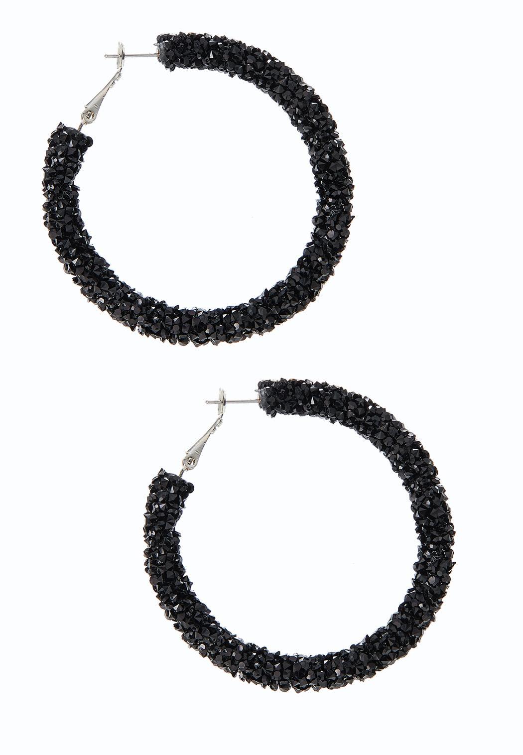 Midnight Crystal Bead Hoop Earrings