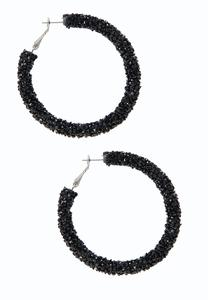 Midnight Crystal Bead Hoop Earrings