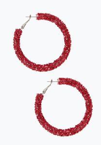 Crystal Bead Hoop Earrings