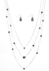 Glass Bead Illusion Necklace Earring Set