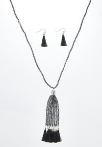 Shady Tassel Necklace Earring Set