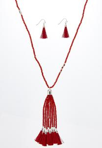 Red Bead Tassel Necklace Earring Set