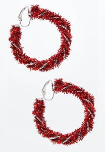 Tinsel Hoop Clip-On Earrings