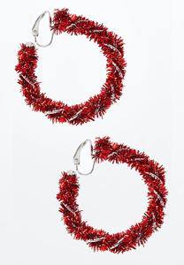 Tinsel Hoop Clip-On Earrings