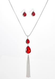Red Glass Tear Necklace Earring Set