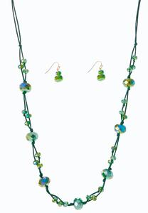 Green Cord Necklace Earring Set