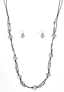 Rondelle Cord Necklace Earring Set