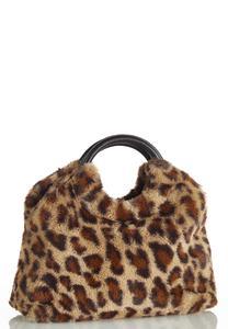 Leopard Faux Fur Satchel