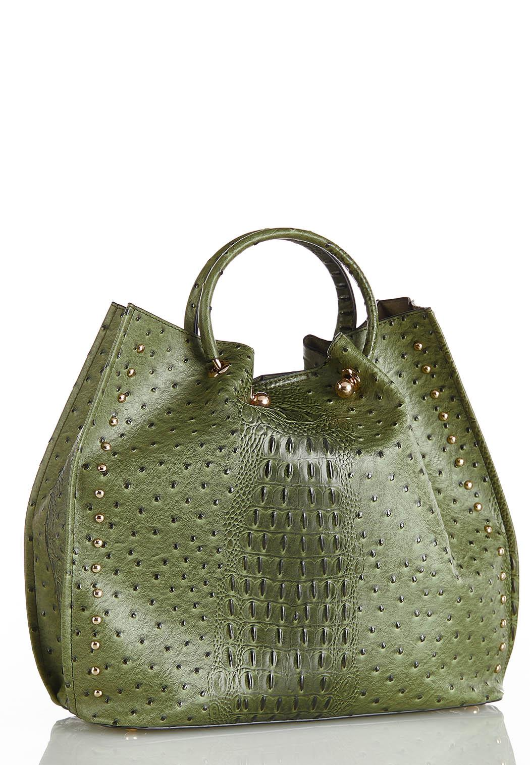 Oversized Cinched Ostrich Satchel
