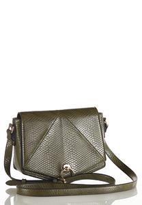 Tonal Faux Snakeskin Crossbody Bag