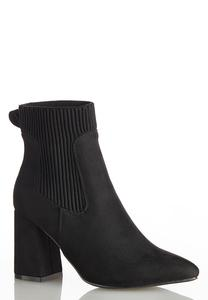 Wide Width Ribbed Side Ankle Boots