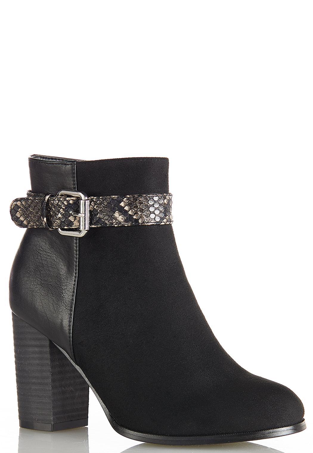 Wide Width Snake Belt Ankle Boots
