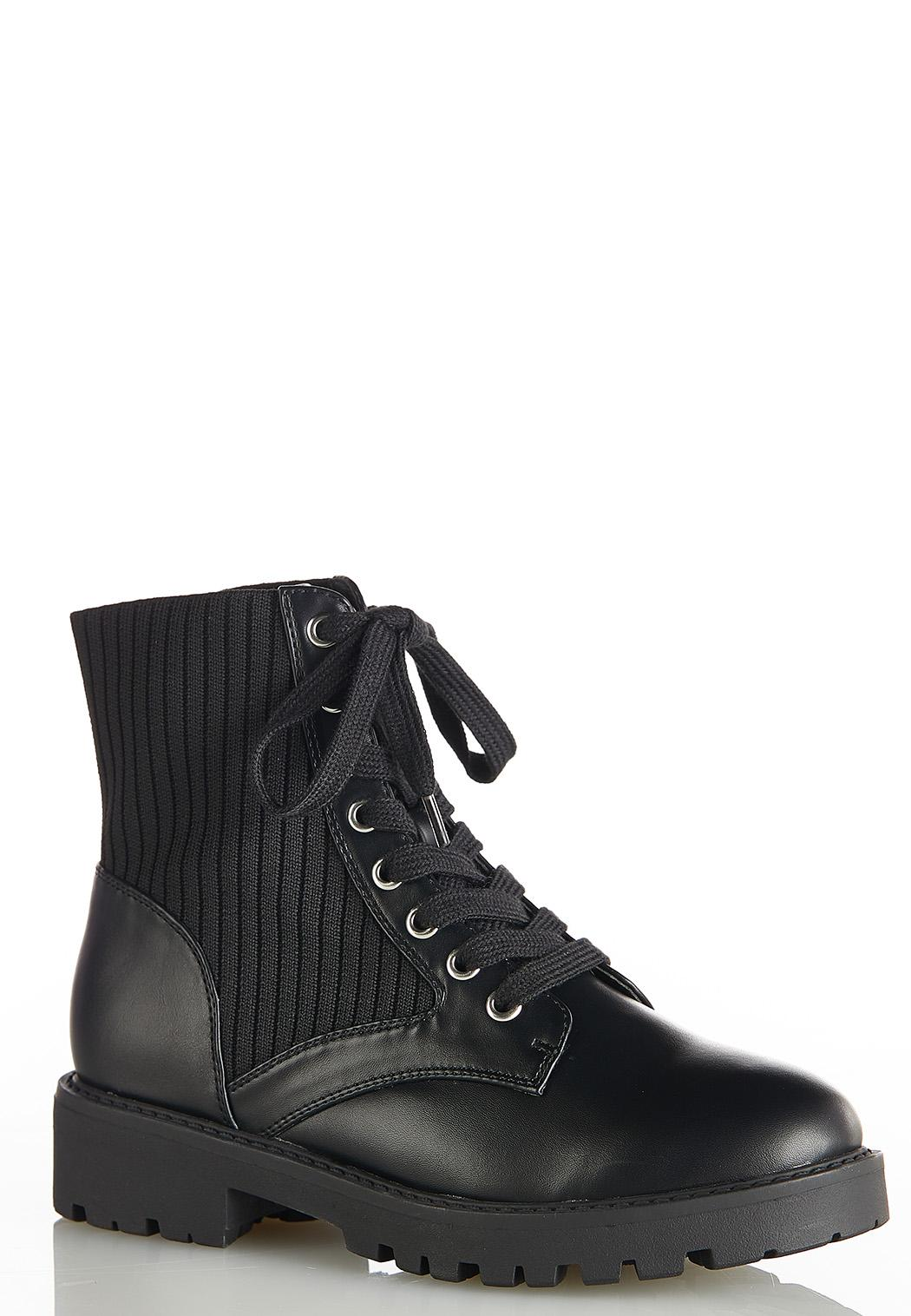 Wide Width Stretch Ankle Combat Boots