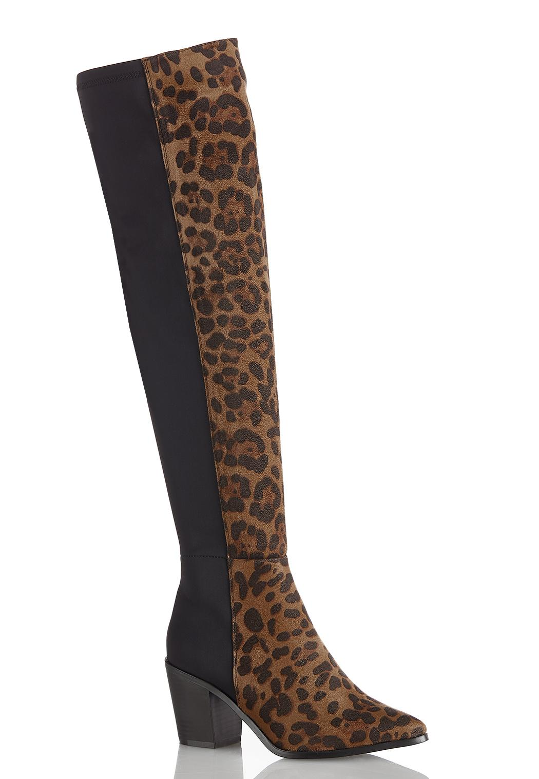 Wide Width Solid Leopard Over The Knee Boots