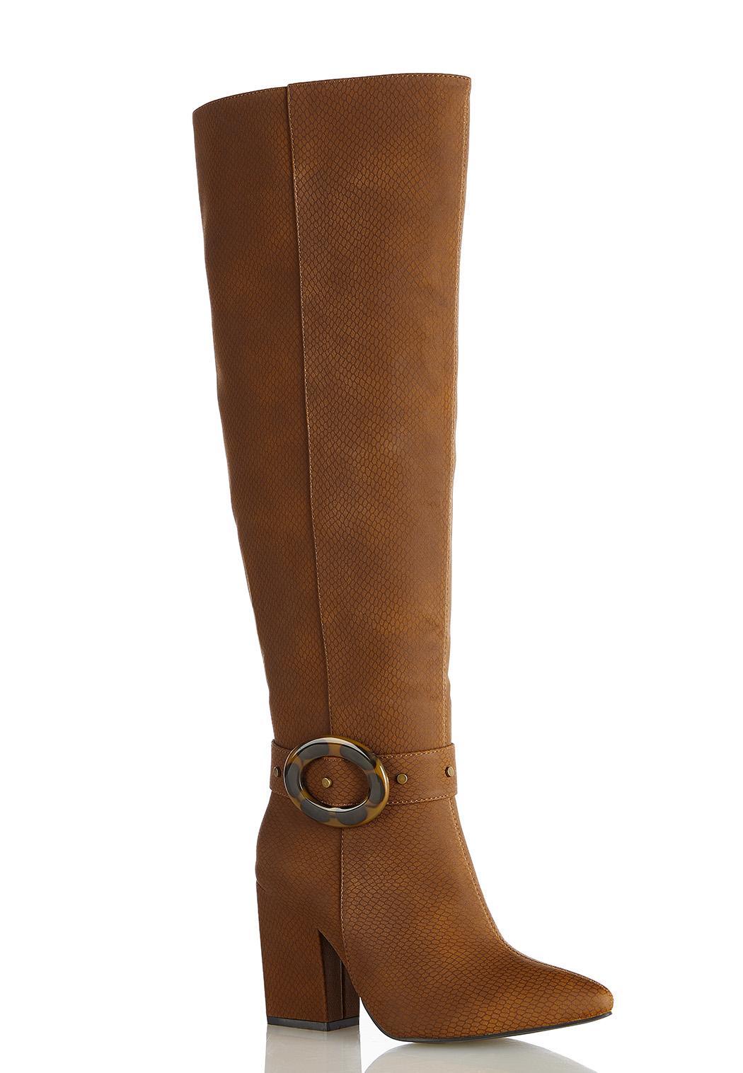 Wide Width Tort Buckle Tall Boots