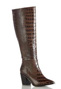 Wide Width Tall Crocodile Textured Boots