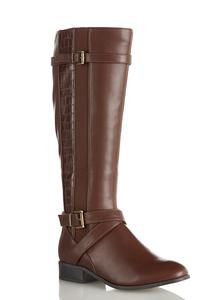Croc Panel Riding Boots