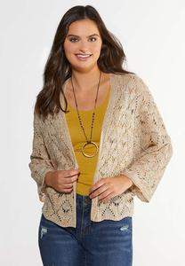 Plus Size Natural Pointelle Cardigan Sweater
