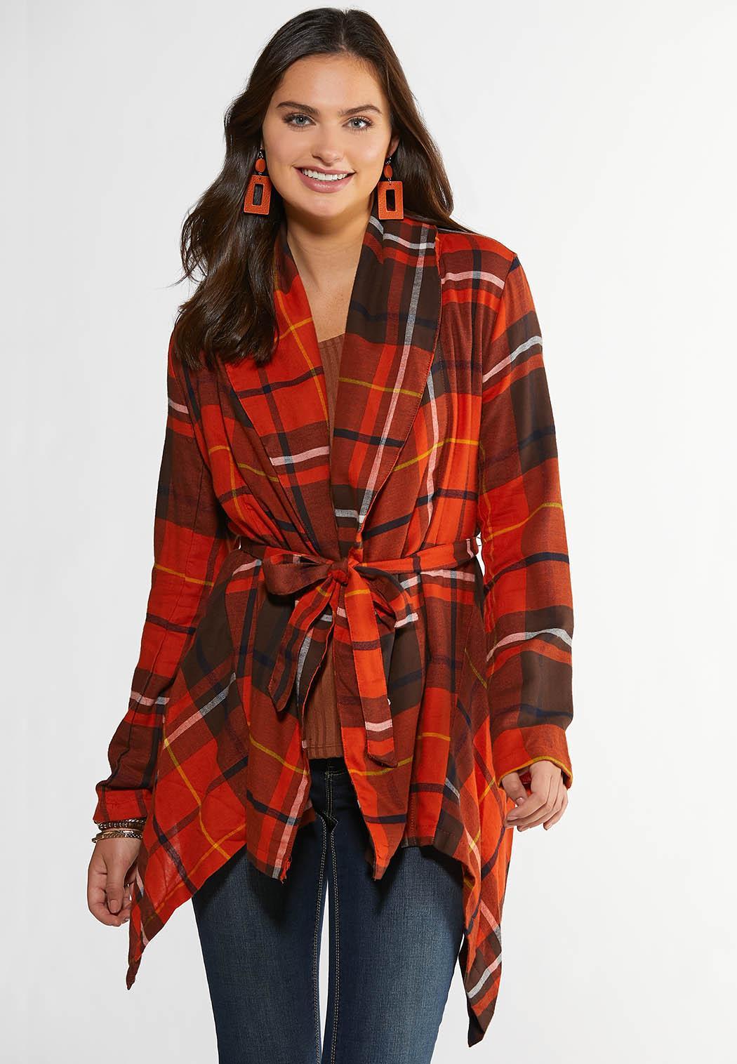 Fireside Plaid Belted Jacket