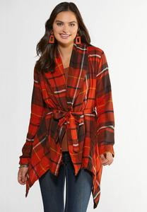 Plus Size Fireside Plaid Belted Jacket