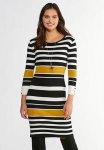 Ribbed Striped Sweater Dress