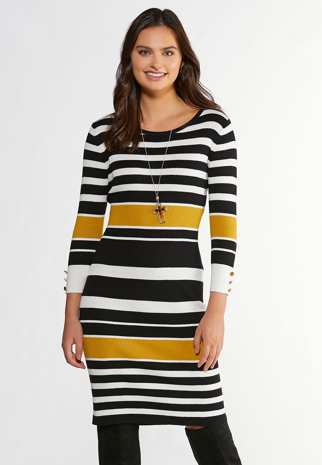 Plus Size Ribbed Striped Sweater Dress