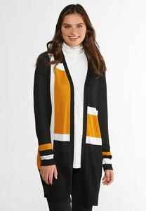 Plus Size Gold Colorblock Cardigan Sweater