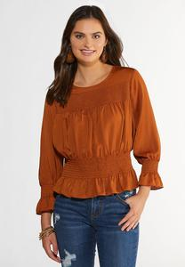 Plus Size Caramel Smocked Peplum Top