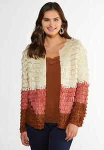 Plus Size Loop Colorblock Cardigan Sweater