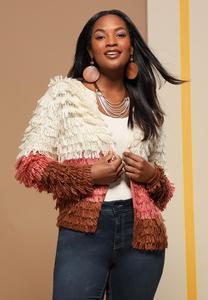 Plus Size Loop Colorblock Cardigan Sweater