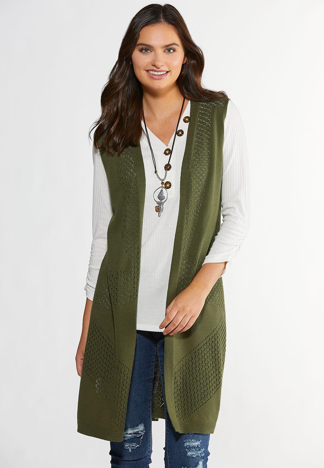 Olive Fringe Back Sweater Vest