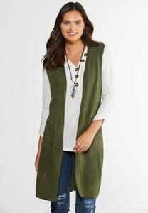 Plus Size Olive Fringe Back Sweater Vest