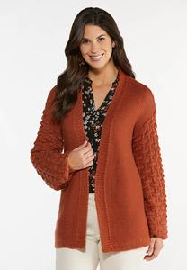 Balloon Sleeve Cardigan Sweater